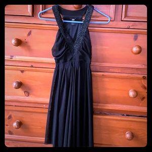 Little black beaded dress, v neck H&M XS